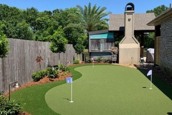 mini golf in backyard